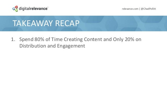 TAKEAWAY RECAPrelevance.com | @ChadPollitt1. Spend 80% of Time Creating Content and Only 20% onDistribution and Engagement...
