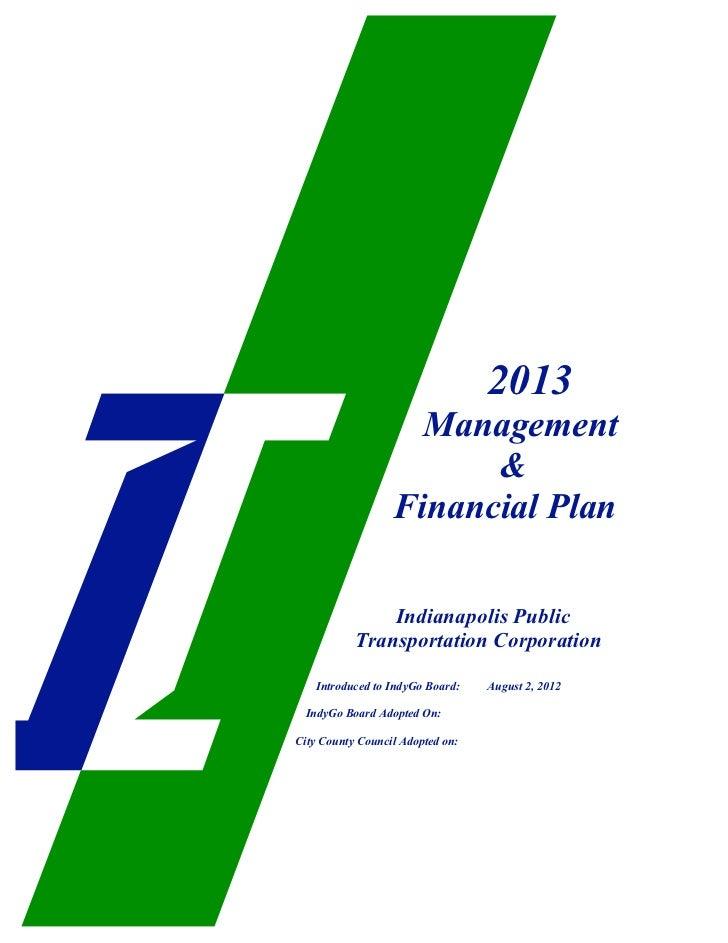 2013                    Management                        &                  Financial Plan               Indianapolis Pub...