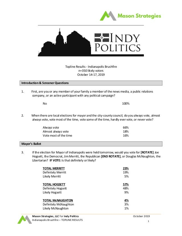 Mason Strategies, LLC for Indy Politics October 2019 Indianapolis Brushfire – TOPLINE RESULTS 1 Topline Results - Indianap...