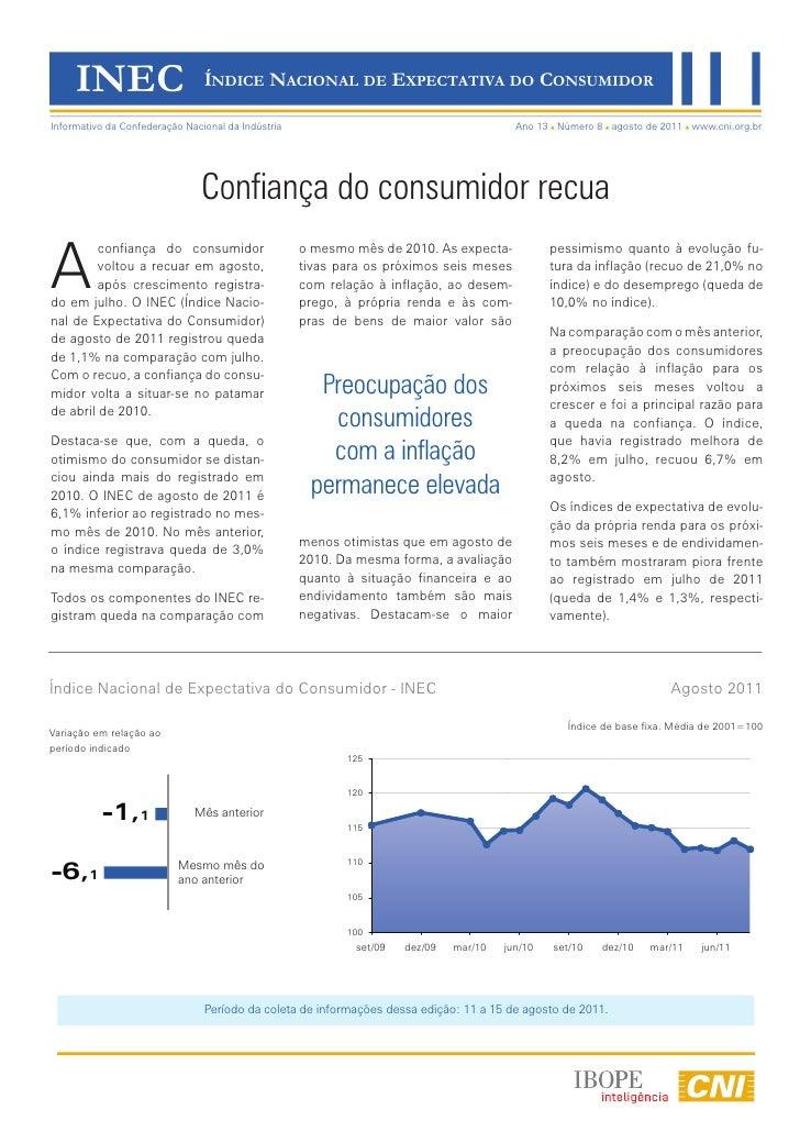 INEC                       ÍNDICE NACIONAL DE EXPECTATIVA DO CONSUMIDORInformativo da Confederação Nacional da Indústria  ...