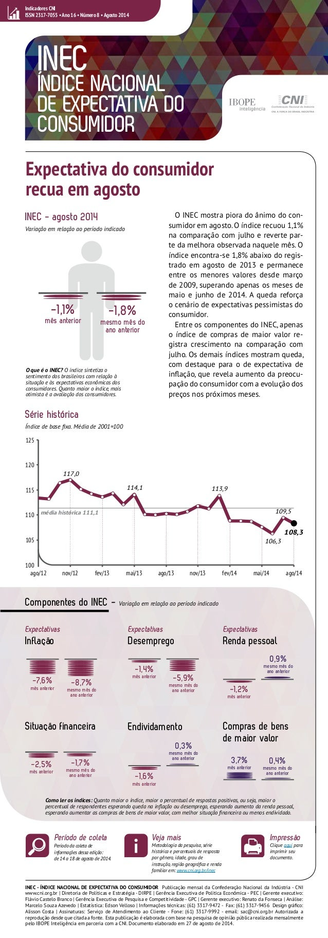 Indicadores CNI  ISSN 2317-7055 • Ano 16 • Número 8 • Agosto 2014  INEC  ÍNDICE NACIONAL  DE EXPECTATIVA DO  CONSUMIDOR  E...