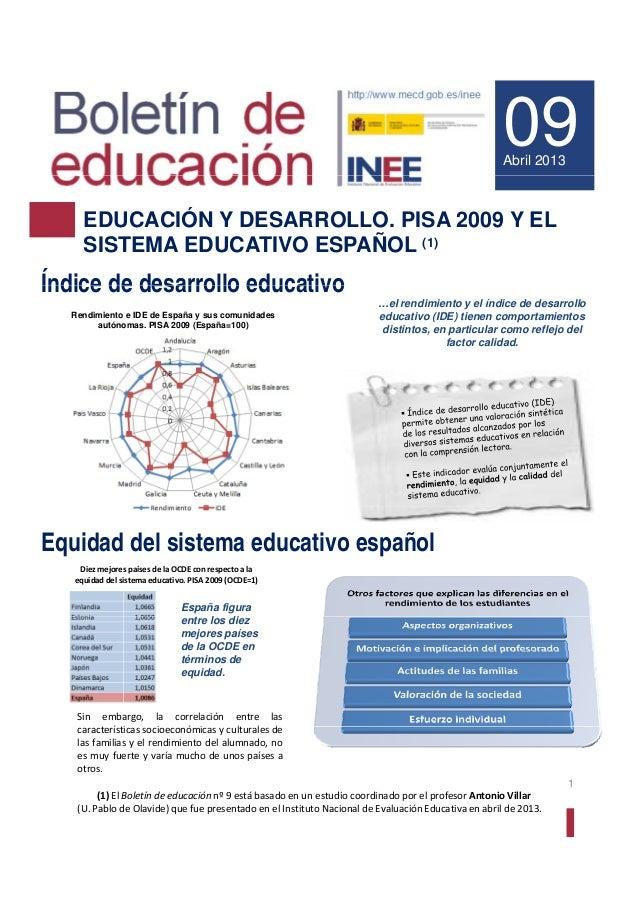 09Abril 2013EDUCACIÓN Y DESARROLLO. PISA 2009 Y ELSISTEMA EDUCATIVO ESPAÑOL (1)Índice de desarrollo educativoÍndice de des...