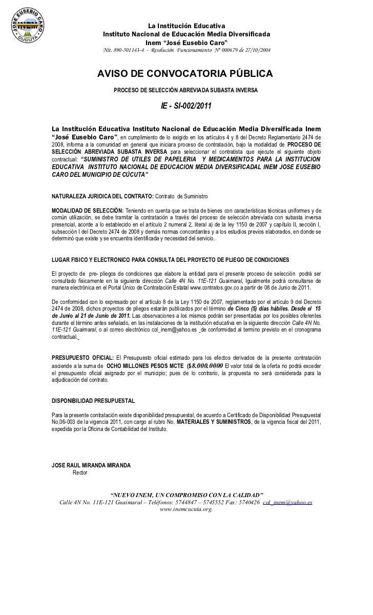 La Institución Educativa                       Instituto Nacional de Educación Media Diversificada                        ...