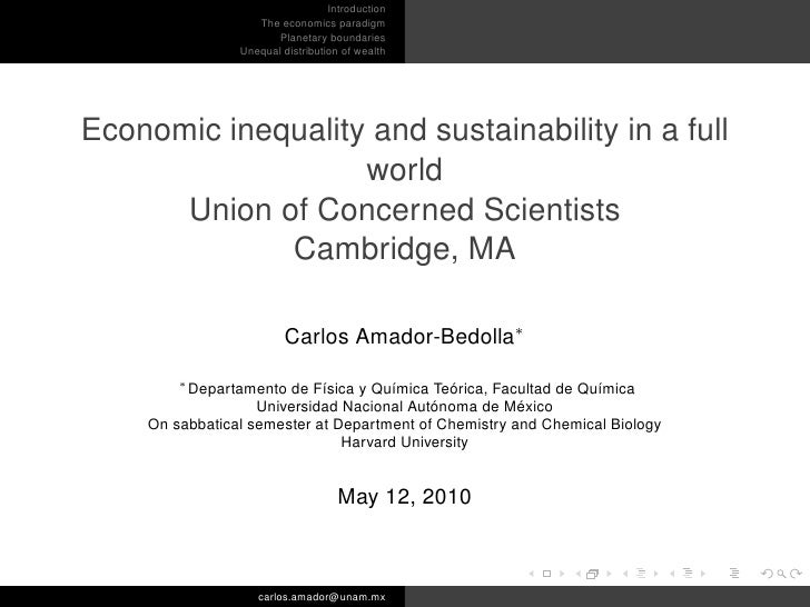 Introduction                    The economics paradigm                       Planetary boundaries                 Unequal ...