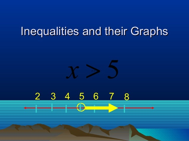 Inequalities and their Graphs         x>5 x>5  2   3 4 5 6      7   8