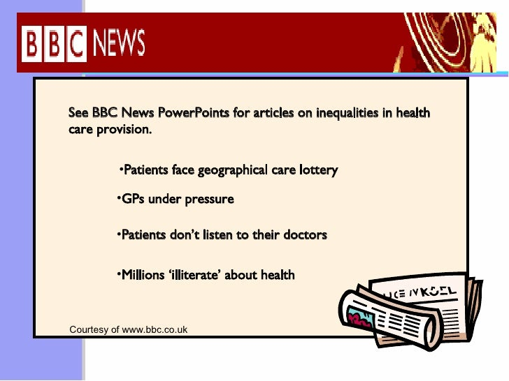 bbc health inequality A lifetime spent studying how social determinants of health lead to health  inequalities has clarified many issues first is that social stratification.