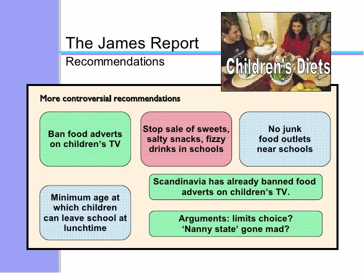 Children's Diets More controversial recommendations The James Report Recommendations Ban food adverts on children's TV Min...