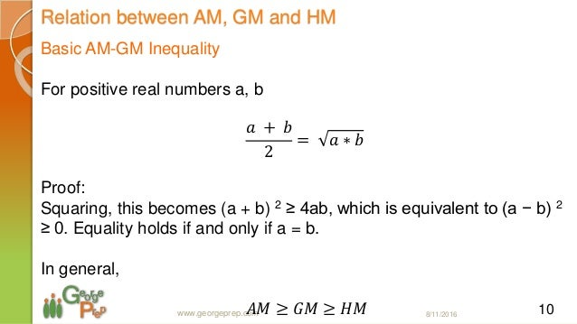 am gm inequality and its applications We show that a simple change of variable allows one to derive from the the am- gm inequality an improved version of itself as an application, a refinement of.