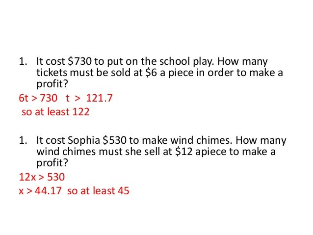 Inequality word problems – How to Make Tickets on Word