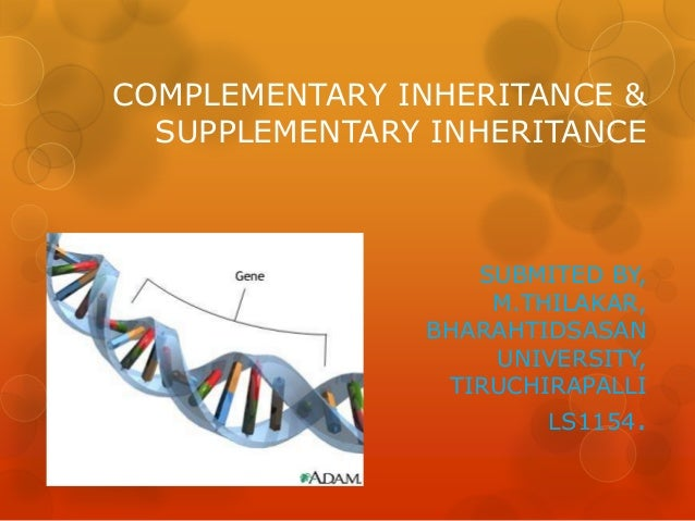 COMPLEMENTARY INHERITANCE &  SUPPLEMENTARY INHERITANCE                  SUBMITED BY,                   M.THILAKAR,        ...