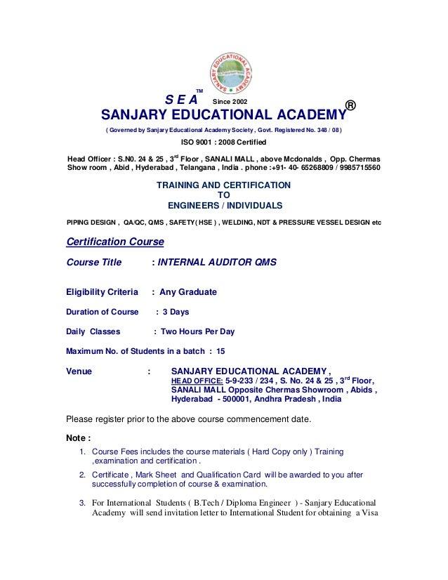 Internal Auditor Qms Ohsas Ems Course