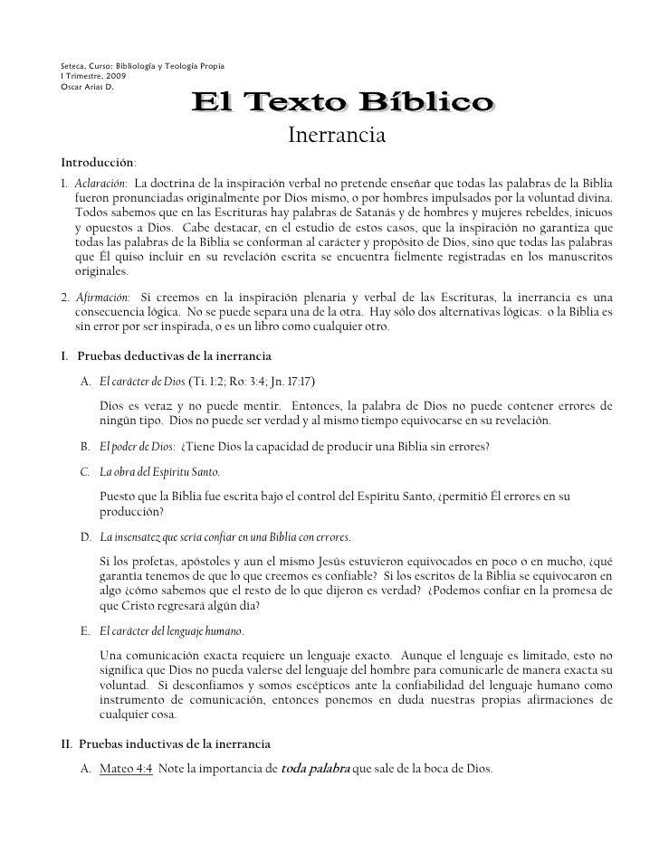 Seteca, Curso: Bibliología y Teología PropiaI Trimestre, 2009Oscar Arias D.                                               ...