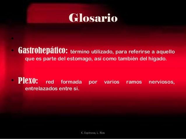 Glosario • • Gastrohepático: término utilizado, para referirse a aquello que es parte del estomago, así como también del h...
