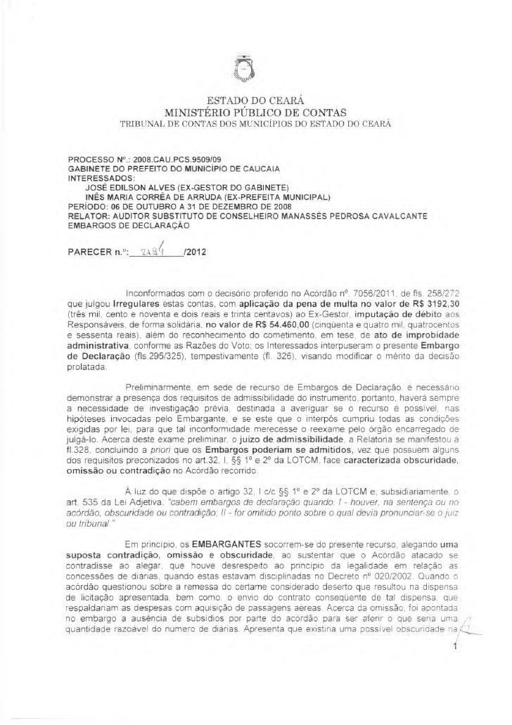 ESTADO DO CEARÁ                            MINISTÉRIO PÚBLICO DE CONTAS             TRIBUNAL DE CONTAS DOS MUNICÍPIOS DO E...