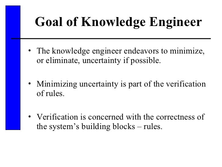 Goal of Knowledge Engineer <ul><li>The knowledge engineer endeavors to minimize, or eliminate, uncertainty if possible. </...
