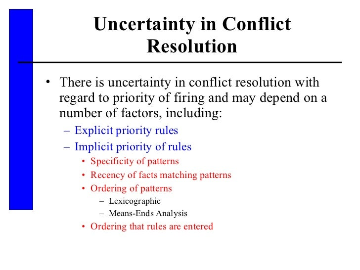 Uncertainty in Conflict Resolution <ul><li>There is uncertainty in conflict resolution with regard to priority of firing a...