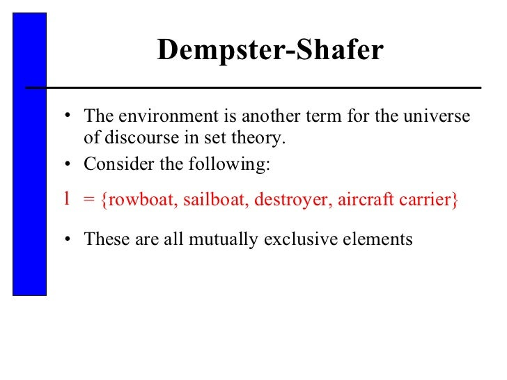 Dempster-Shafer <ul><li>The environment is another term for the universe of discourse in set theory. </li></ul><ul><li>Con...