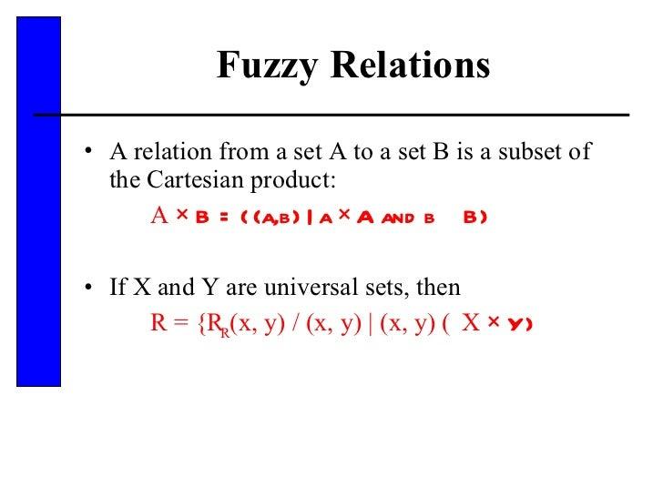 Fuzzy Relations <ul><li>A relation from a set A to a set B is a subset of the Cartesian product: </li></ul><ul><li>A  × B ...