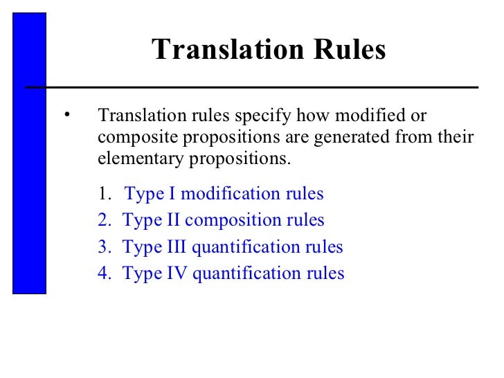 Translation Rules <ul><li>Translation rules specify how modified or composite propositions are generated from their elemen...