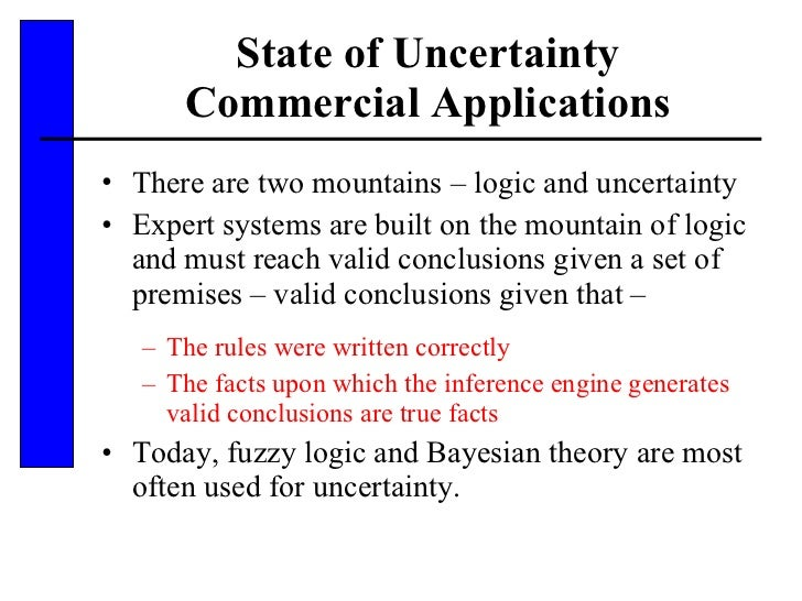 State of Uncertainty Commercial Applications <ul><li>There are two mountains – logic and uncertainty </li></ul><ul><li>Exp...