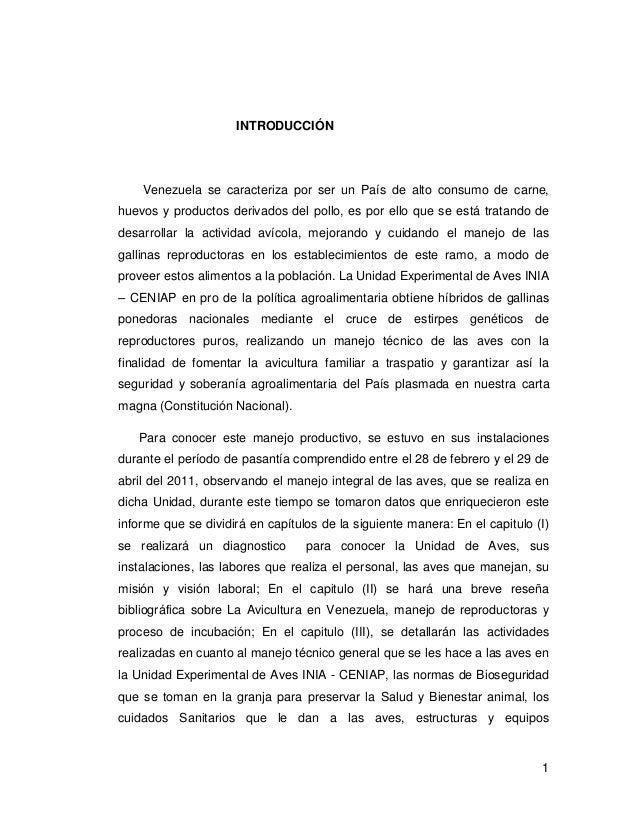 1 INTRODUCCIÓN Venezuela se caracteriza por ser un País de alto consumo de carne, huevos y productos derivados del pollo, ...