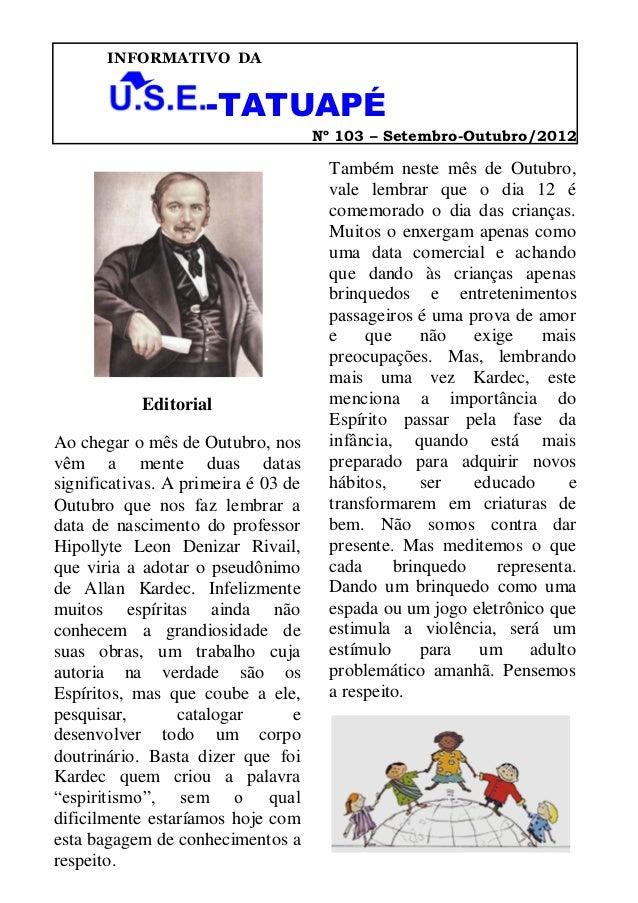 INFORMATIVO DA                    -TATUAPÉ                                     Nº 103 – Setembro-Outubro/2012             ...