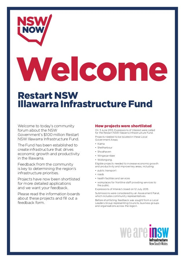 Welcome to today's community forum about the NSW Government's $100 million Restart NSW Illawarra Infrastructure Fund. The ...