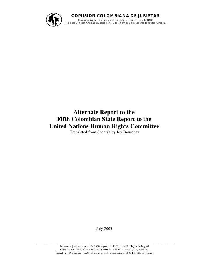 COMISIÓN COLOMBIANA DE JURISTAS                              Organización no gubernamental con status consultivo ante la O...