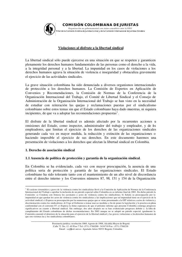 COMISIÓN COLOMBIANA DE JURISTAS                                             Organización no gubernamental con status consu...