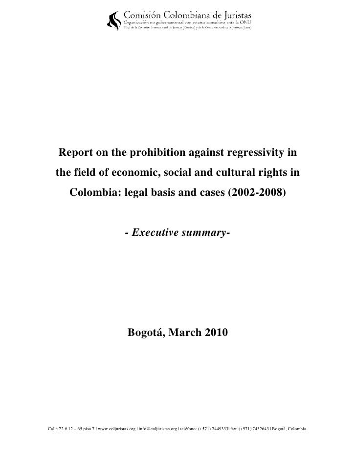Report on the prohibition against regressivity in    the field of economic, social and cultural rights in           Colomb...