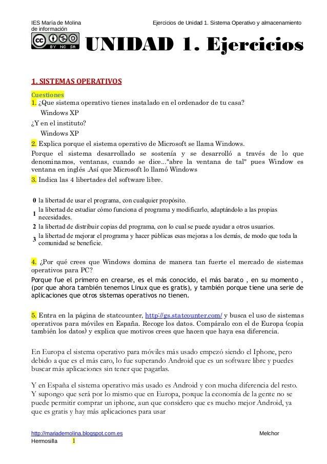 IES María de Molina Ejercicios de Unidad 1. Sistema Operativo y almacenamiento de información UNIDAD 1. Ejercicios 1. SIST...