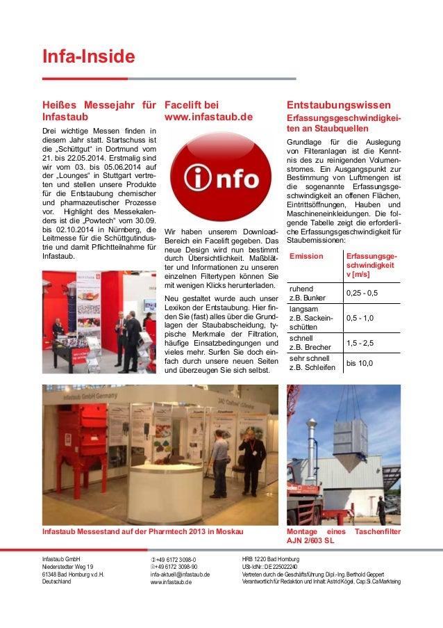 Infastaub GmbH Niederstedter Weg 19 61348 Bad Homburg v.d.H. Deutschland )+49 6172 3098-0 2+49 6172 3098-90 infa-aktuell@i...