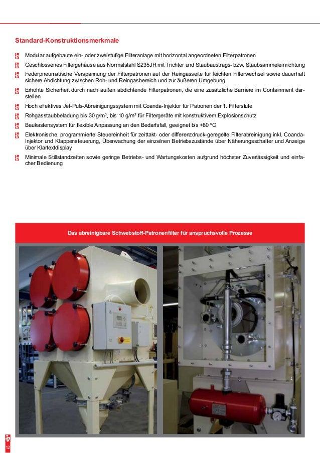 Standard-Konstruktionsmerkmale  -- Modular aufgebaute ein- oder zweistufige Filteranlage mit horizontal angeordneten Filte...