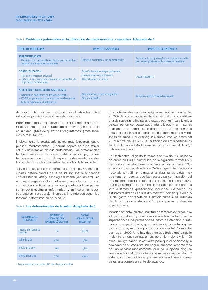 18 LIBURUKIA • 9 Zk • 2010 VOLUMEN 18 • Nº 9 • 2010 Tabla 1. Problemaspotencialesenlautilizacióndemedicamentosyeje...