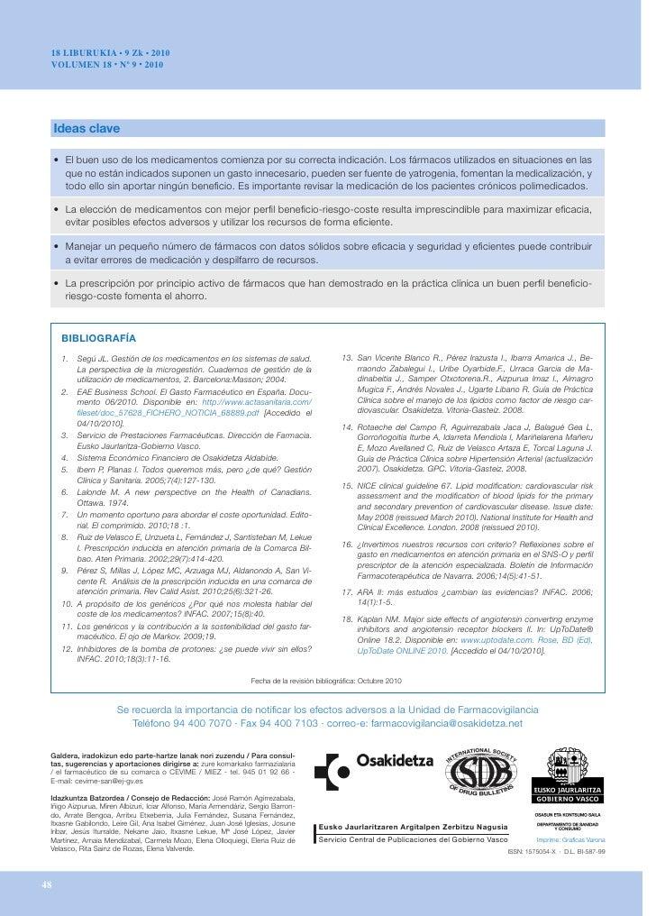 18 LIBURUKIA • 9 Zk • 2010 VOLUMEN 18 • Nº 9 • 2010     Ideas clave     • Elbuenusodelosmedicamentoscomienzaporsu...
