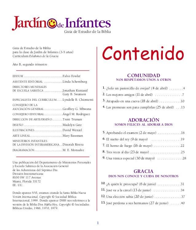 Guía de Estudio de la Biblia para la clase de Jardín de Infantes (3-5 años) Currículum Eslabones de la Gracia Año B, segun...