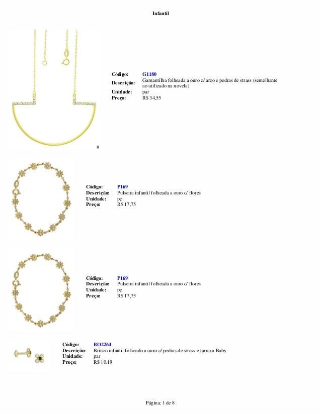 Infantil  G1180  Código:  Descrição: Gargantilha folheada a ouro c/ arco e pedras de strass (semelhante  ao utilizado na n...