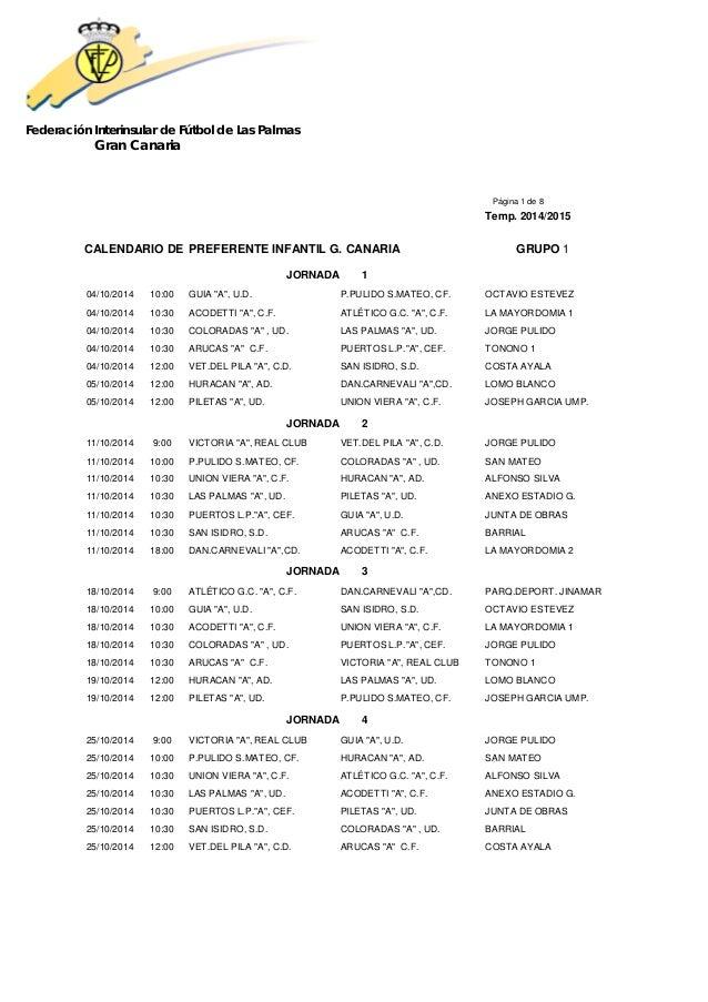Federación Interinsular de Fútbol de Las Palmas  Gran Canaria  Página 1 de 8  Temp. 2014/2015  CALENDARIO DE PREFERENTE IN...