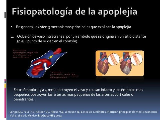 • En general, existen 3 mecanismos principales que explican la apoplejía 1. Oclusión de vaso intracraneal por un embolo qu...