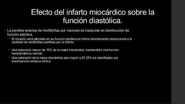 Efecto del infarto miocárdico sobre lafunción diastólica.• La perdida extensa de miofibrillas por necrosis es traducida en...