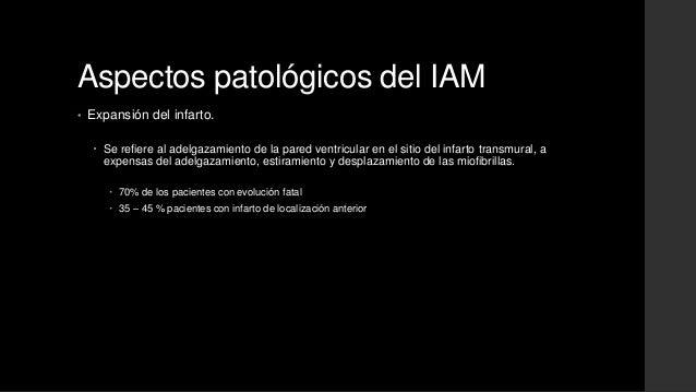 Aspectos patológicos del IAM• Expansión del infarto. Se refiere al adelgazamiento de la pared ventricular en el sitio del...