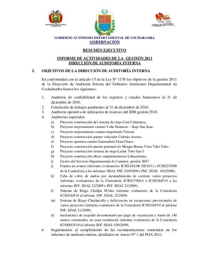 GOBIERNO AUTÓNOMO DEPARTAMENTAL DE COCHABAMBA GOBERNACIÓN RESUMEN EJECUTIVO INFORME DE ACTIVIDADES DE LA GESTIÓN 2011 DIRE...