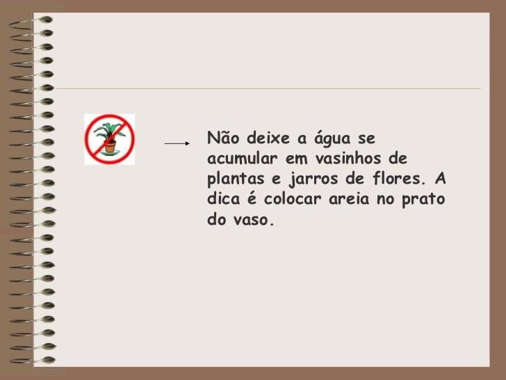 Não deixe a água se acumular em vasinhos de plantas e jarros de flores. A dica é colocar areia no prato do vaso.