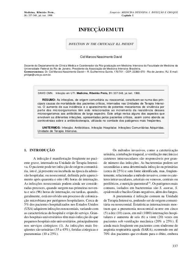Medicina, Ribeirão Preto, Simpósio: MEDICINA INTENSIVA: I. INFECÇÃO E CHOQUE  31: 337-348, jul./set. 1998 Capítulo I  INFE...