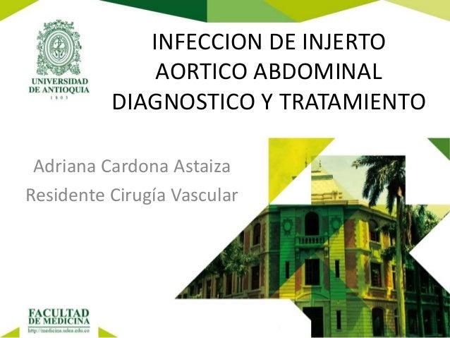 INFECCION DE INJERTO AORTICO ABDOMINAL DIAGNOSTICO Y TRATAMIENTO Adriana Cardona Astaiza Residente Cirugía Vascular