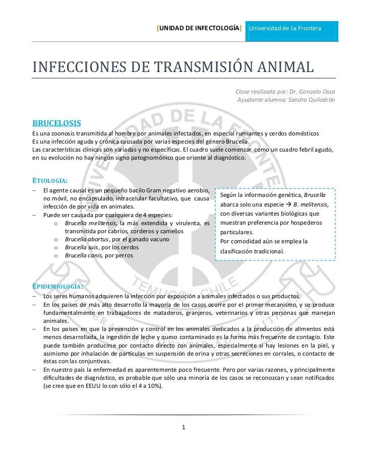 [UNIDAD DE INFECTOLOGÍA] Universidad de La FronteraINFECCIONES DE TRANSMISIÓN ANIMAL                                      ...