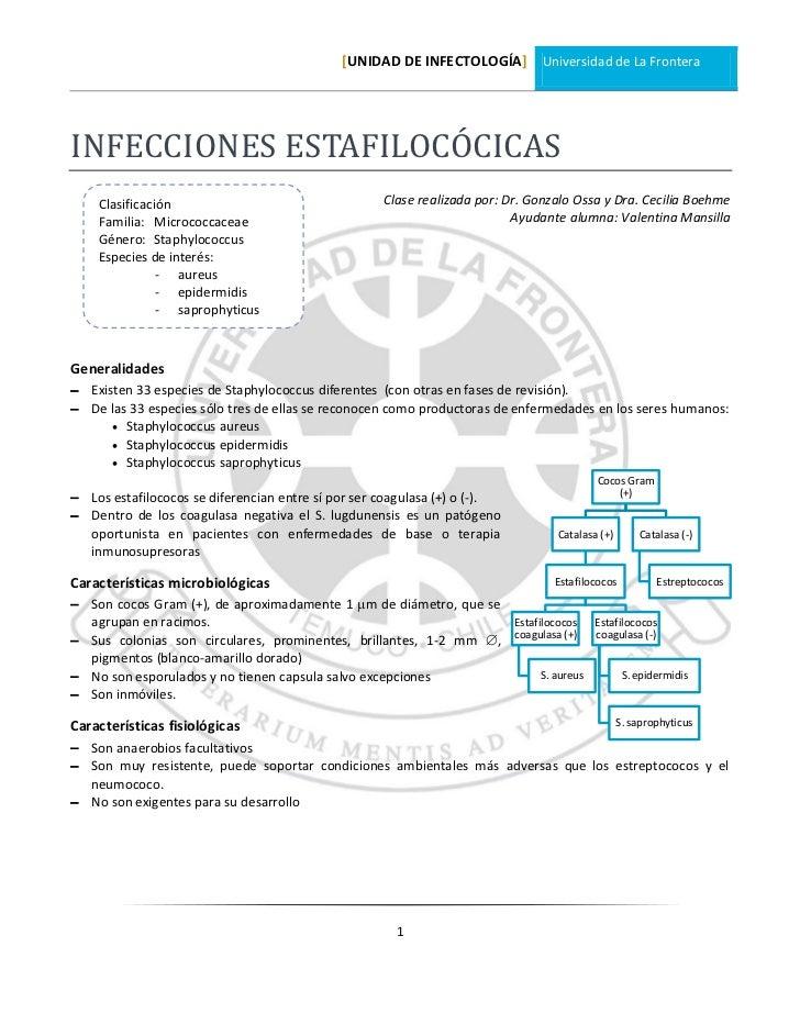 [UNIDAD DE INFECTOLOGÍA] Universidad de La FronteraINFECCIONES ESTAFILOCÓCICAS    Clasificación                           ...