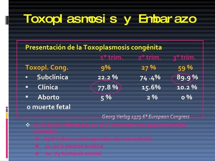 Toxoplasmosis y Embarazo <ul><li>Presentación de la Toxoplasmosis congénita </li></ul><ul><li>1° trim.  2° trim.  3° trim....