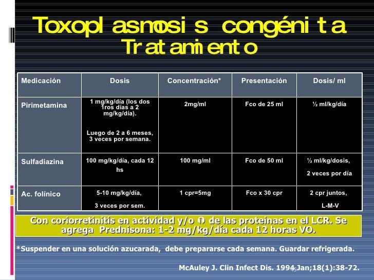 Toxoplasmosis congénita Tratamiento *Suspender en una solución azucarada,  debe prepararse cada semana. Guardar refrigerad...