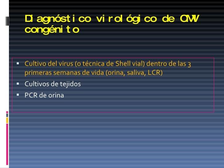 Diagnóstico virológico de CMV congénito <ul><li>Cultivo del virus (o técnica de Shell vial) dentro de las 3 primeras seman...